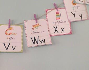 Alphabet Cards, ABC, Children, Wall Art, Instant Download, Phonics, Reading, Homeschool