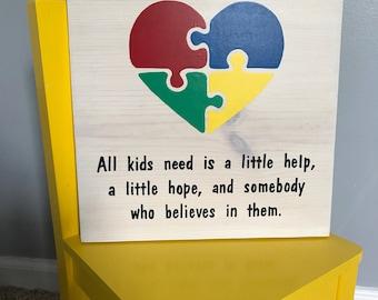 All Kids Need Is A Little Help   Autism Awareness   Teacher   Classroom Decor   Puzzle Design