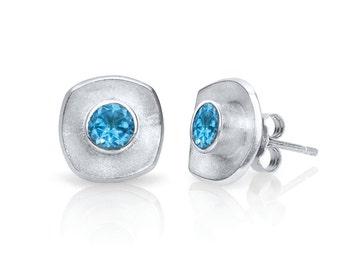 Cushion Shape Sterling Silver Gemstone Stud Earrings