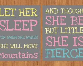 Let Her Sleep Move Mountains She Is Fierce Pink Yellow Aqua Grey Wall Art Baby Decor Nursery Childs Room Print Set of 2-8x10(165)