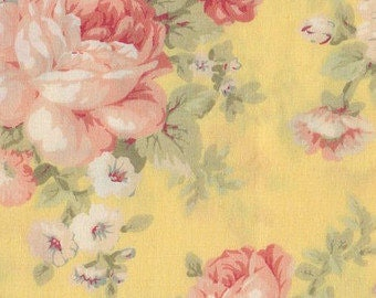 Shabby Roses on Yellow Cotton Calico Fabric