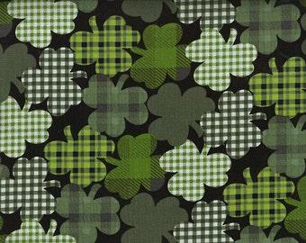 St Patrick Irish Shamrock and plaid check Fabric Quilt Craft Cotton