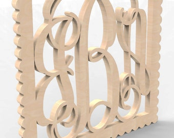 "3 Letter Square Sculpted Frame Monogram Door or Wall Hanger 14"" tall Custom Made."