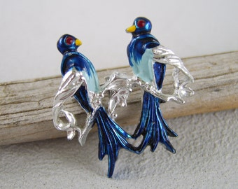 Vintage Silver Blue Enamel Lovebirds Brooch Figural Bird Pin