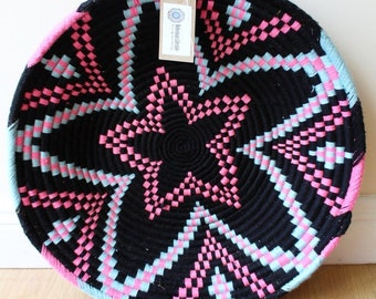 Moroccan Woven Plate  - Black / Pink / Blue
