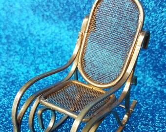 Vintage Brass Doll Rocking Chair