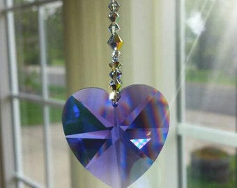Amethyst heart suncatcher, Purple suncatcher, February gift, window hanger, crystal suncatcher, light catcher, housewarming gift