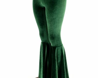 Forest Green Velvet Bell Bottom Flares Leggings with High Waist & Stretchy Spandex Fit - 154749