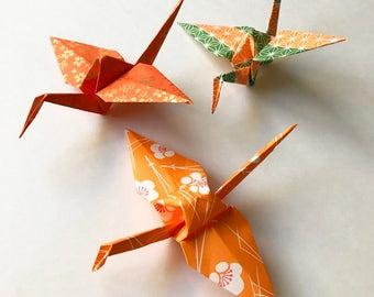 Orange Origami Paper Cranes