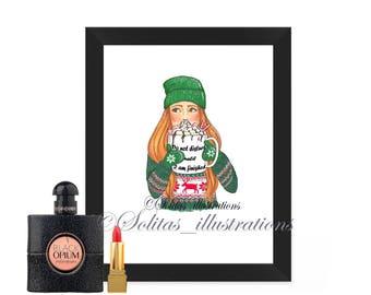 Print, winter image, hot chocolate, wall art