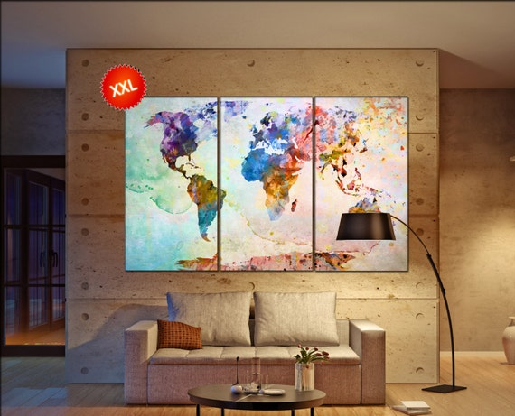 large world map  print on canvas wall art Large world map  artwork large world map   Print home office decoration