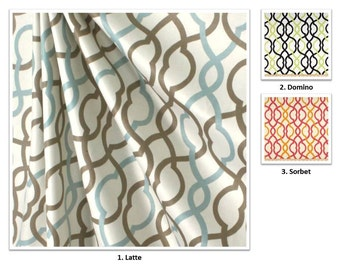 """3 Colors; Handmade Cotton Drapery Panel /Curtain; Waverly Make Waves; Geometric; 50"""" Wide; Lining, Pleat, Extra Width Upgrades Available"""