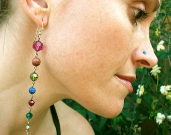 Sterling Silver-Swarovski Crystal-Stone-Chakra-Long-Earrings / Free US Shiping