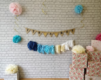 ITS A GIRL Decoration, Garland, burlap banner, Rustic pendants Decor Photo Props Baby Shower Gender Reveal