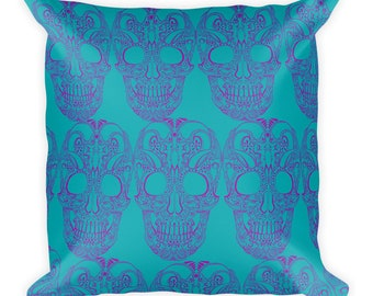 Square Pillow Skull Pink Blue Large Soft