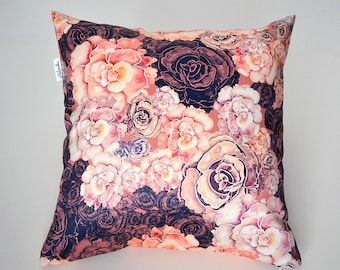 SALE Marsala Peony pillowcase by original floral design, bordo, orange, ivory flower satin pillow 18x18' (45x45 cm),  20x20' (50x50 cm)