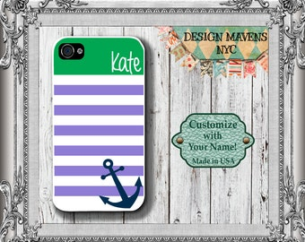 Preppy Anchor iPhone Case, Nautical iPhone Case, Monogram Phone Case, iPhone 7, 7 Plus, iPhone 6, 6s, 6 Plus, SE, iPhone 5, 5s, 5c, 4