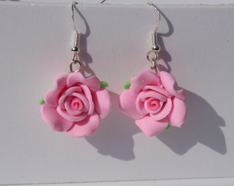 pink rose earrings rose dangle earrings flower earrings pink earrings summer jewellery pink flower earrings gardeners gift mothers day