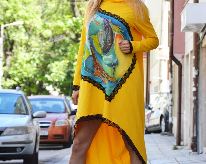 Loose Sleeves Kaftan Dress, Hand Painted Birds, Yellow Asymmetric Maxi Tunic, Extravagant Tunic With Lace by SSDfashion