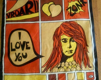 Vintage 70s scarf comic I love you retro by Gigi