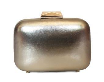 Light Gold Metallic Box Clutch - AISHA