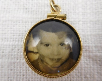 Antique 14k Gold Double Sided Photo Bubble Charm