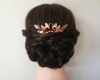 Rose gold hair pin, wedding hair piece, bridal hair pin, rose gold bridal hair piece, flower hair pin, wedding hair pin, leaf hair pin