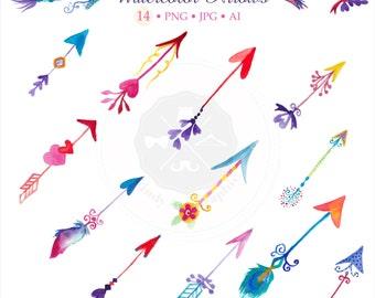 Watercolor Arrows Clipart, valentine bundle, Valentine Clipart, clipart,arrow clipart,digital download