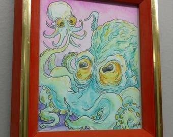 Original watercolor painting of Octopus and baby. One of a kind!