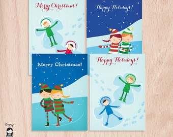 Merry Christmas - Happy Holidays - Greeting Cards - Sample Pack of 4 Christmas Greeting Cards