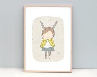 Childrens Wall Art - Animal Wall Art - Bunny Rabbit with Yellow Coat - Art Print 8x10 or A4 Children's Room