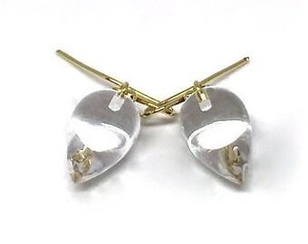 Rock Crystal Acorn Earrings Crystal Quartz 18k Acorn Earrings Rock Crystal Earrings April Birthstone Womens Gift for Wife Girlfriend Her