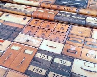 Fabric - fabric drawers - Vintage fabric - fabric bins - retro fabric upholstery - fabric n - 1/2 metres
