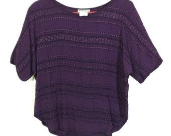 Vtg 90s Gantos Purple Dolman Blouse, Sz Medium