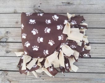 Dog Lover Paw Blanket, Fleece No Sew Tie Knot Throw, Pet Bedding, Brown Paw Print, Newborn to Teen, Dog Gifts Under 30