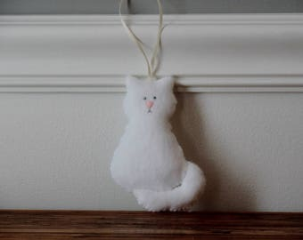 White Cat Ornament, White Felt Cat, Felt Animal Ornament, Felt Ornaments, Christmas Ornament, Plush White Cat, Persian Cat Ornament, Catlady