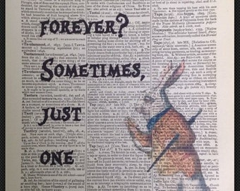 Alice In Wonderland How Long Is Forever Quote Vintage Dictionary Print Print Picture White Rabbit Mad Hatter Quirky Funky Home Decor