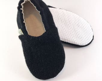 Toddler Slippers- Hipster Toddler Clothes- Black Baby Shoes- Gender Neutral Baby Outfit- Eco Friendly Baby