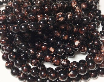 50 Beads -- 6mm Black Brown Mottled Marble Round Loose Glass Beads