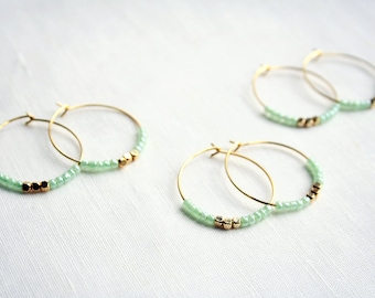 Mint Hoop Earrings, Light Green Earrings, Bridesmaid Earrings