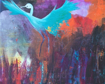 Blue Heron art print: Abstract painting, original painting, bird painting, abstract expressionism, boho decor, abstract artwork, modern art