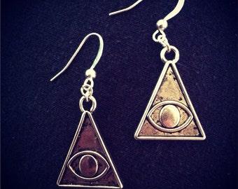 Metal All Seeing Eye Earrings