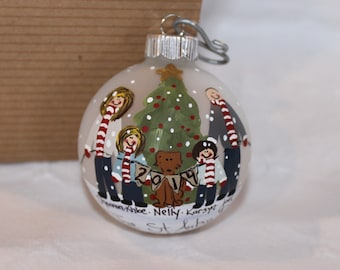 Hand Painted Family Ornament with Candy Stripe Scarves