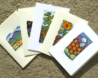 Flowers and Rios hand painted cards Northern New Mexico Taos Santa Fe sacred landscape Sangre de Christo