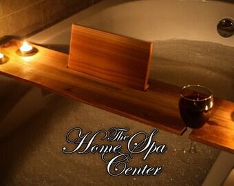 Cedar Home Spa Center Bathtub Caddy Tray