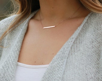 Horizontal Bar Necklace, Personalized Nameplate Necklace, Zip Code Necklace, Dainty Gold Bar Necklace, Silver, Rose Gold, Gift for Her