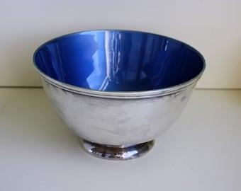 Silverplate Bowl Blue Enamel Towle EP 5003