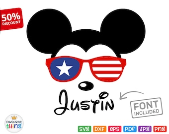 Mickey Sunglasses Svg Disney Baby Shirt American Flag Design Cricut Silhouette Iron on cut file Dxf Png Pdf July 4th US Independence Day