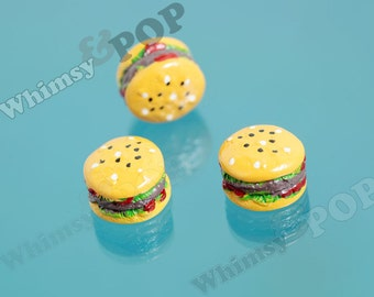 5 - Kawaii Miniature Cheeseburger Burger Hamburger Cabochon, Hamburger Cabochon, 15.5mm x 10mm (R9-091)