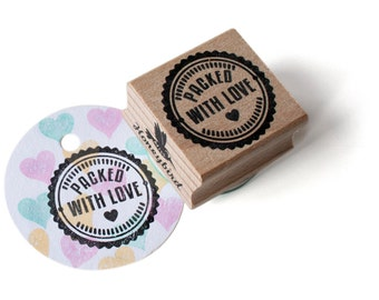 Packed with love ink stamp, package stamp, wrapping stamp, diy wrapping paper, stamping, present stamp